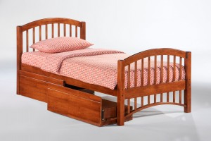 Molasses Bed Twin Cherry w Drawer opened