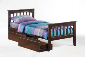 Sasparilla Bed Twin Dark Chocolate w Drawer opened