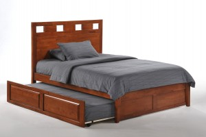 Tamarind Bed Full Cherry K-Series w Cinnamon Trundle opened