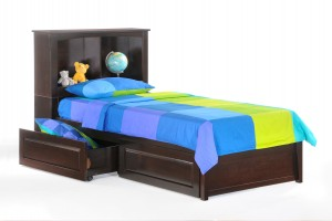 Vanilla Bed Twin Dark Chocolate w Drawer opened