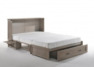 Poppy Murphy Cabinet Bed Brushed Driftwood with Drawer Opened & Tray Up2